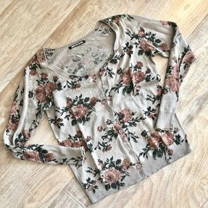 Sweaters - Floral Printed Vintage Style Cotton Cardigan